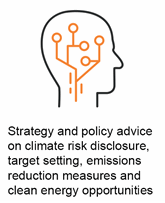 Strategy and policy advice on climate risk disclosure, target setting, emissions reduction measures and clean energy opportunities