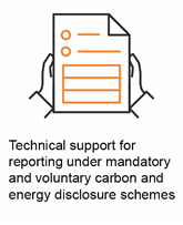 Technical support for reporting under mandatory and voluntary carbon and energy disclosure schemes